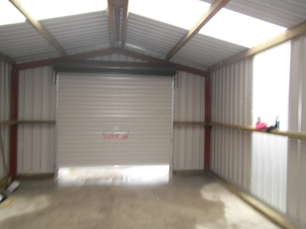 Inside of shed with roller door